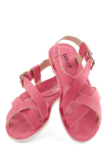 My Fairground Lady Sandal in Cotton Candy - Low, Faux Leather, Pink, Solid, Beach/Resort, Good, Strappy, Variation, Casual, Summer