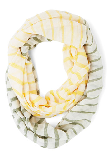 Confectionary Calling Scarf in Yellow and Green - White, Yellow, Green, Stripes, Casual, Better, White, Cotton, Variation, Pastel