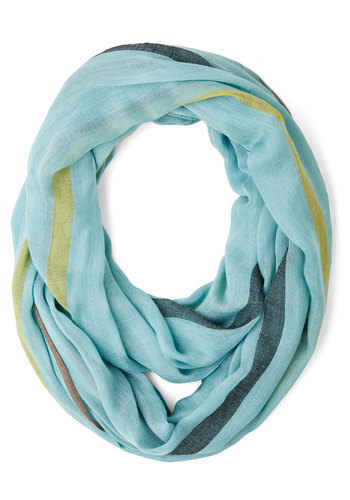 When in Wildwood Circle Scarf in Blue - Blue, Multi, Stripes, Casual, Good, Blue, Woven, Variation, Spring, Under $20