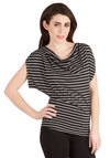 Traces, Everyone! Top - Black, White, Stripes, Casual, Cap Sleeves, Mid-length, Travel, Black, Short Sleeve