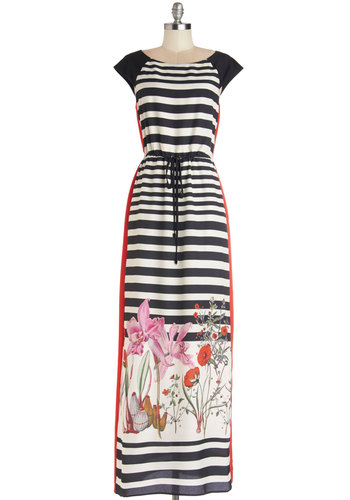 Poetic Lines Dress - Maxi, Woven, Long, Multi, Stripes, Casual, Cap Sleeves, Better, Scoop, Floral, Belted, Beach/Resort