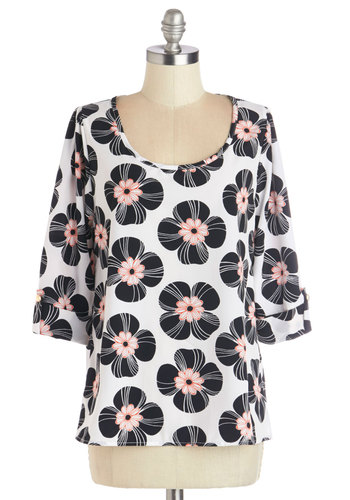 Daily Lunch Date Top in Floral - Coral, Floral, Work, Casual, 3/4 Sleeve, Woven, Black, 3/4 Sleeve, Multi, Black, White, Beach/Resort, Variation, Scoop, Mid-length