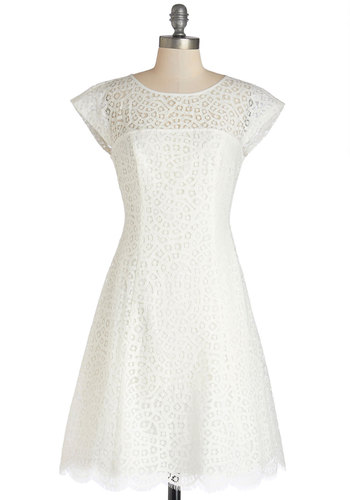 In the Atrium Dress - White, Solid, Lace, Scallops, Wedding, Daytime Party, Graduation, Bride, A-line, Cap Sleeves, Better, Sheer, Woven, Lace, Mid-length, Exposed zipper, Spring