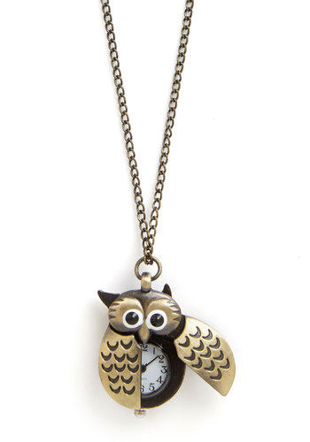 Owl Be Watching You Necklace - Black, White, Print with Animals, Casual, Owls, Gold, Good, Critters, Quirky