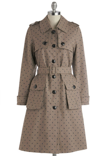 Orla Kiely The Story Thus Safari Coat by Orla Kiely - Long, Tan, Black, Polka Dots, Buttons, Pockets, Belted, Work, 2