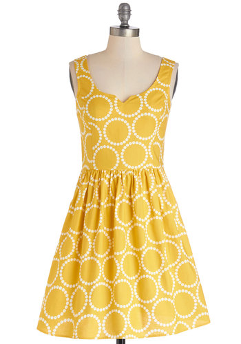 Air of Adorable Dress in Dotted Gold - Yellow, Print, Pockets, Daytime Party, Tank top (2 thick straps), Better, Scoop, Cotton, Woven, White, A-line, Exclusives, Sundress, Full-Size Run, Mid-length