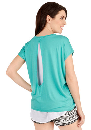 Much Obliged Top in Teal - Knit, Woven, Long, Blue, Solid, Cutout, Casual, Short Sleeves, Spring, Blue, Short Sleeve, Variation, Summer