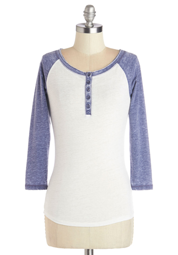 Blue Horizons Top - White, White, 3/4 Sleeve, Knit, Mid-length, Casual, Blue, Solid, 3/4 Sleeve, Buttons