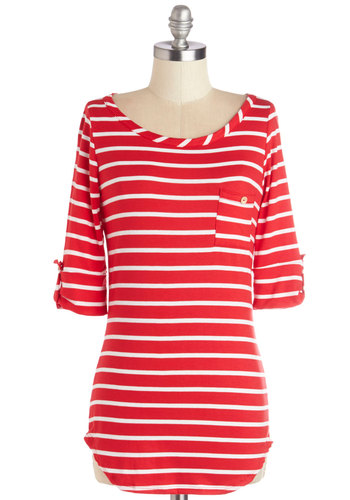 Stripe Zone Top in Red - Tab Sleeve, Knit, Mid-length, Red, White, Stripes, Casual, Nautical, Short Sleeves, Variation, Red, Pockets, Scoop