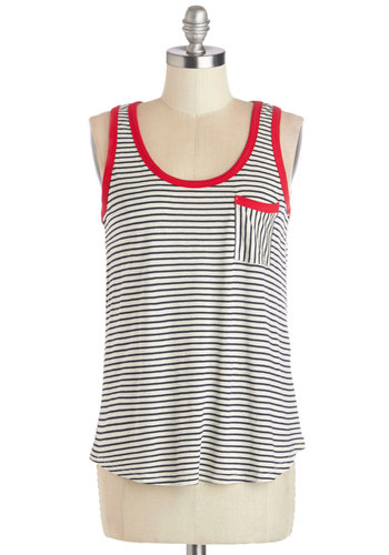 Dock of the Town Tank in Navy - Blue, Sleeveless, Knit, Mid-length, Multi, Red, Blue, White, Stripes, Pockets, Casual, Nautical, Summer, Tank top (2 thick straps), Scoop, Spring, Good