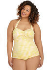 Bathing Beauty One Piece in Yellow Gingham - Plus Size by Esther Williams - Gifts Sale, Knit, Yellow, White, Checkered / Gingham, Halter, Nautical, Beach/Resort