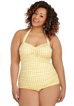 Bathing Beauty One Piece in Yellow Gingham - Plus Size