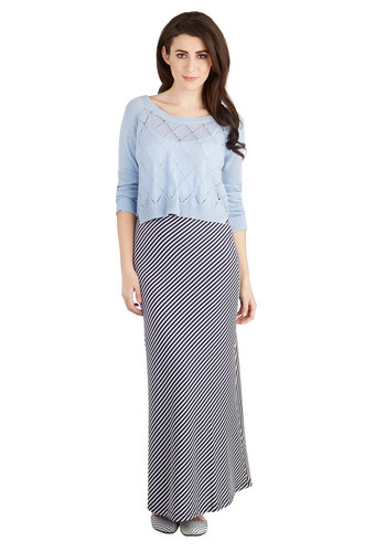 Santa Monica Summer Skirt in Navy and White - Blue, Stripes, Casual, Maxi, Good, Jersey, Knit, Long, Nautical, Variation, Blue, Beach/Resort, Americana, Spring, Summer