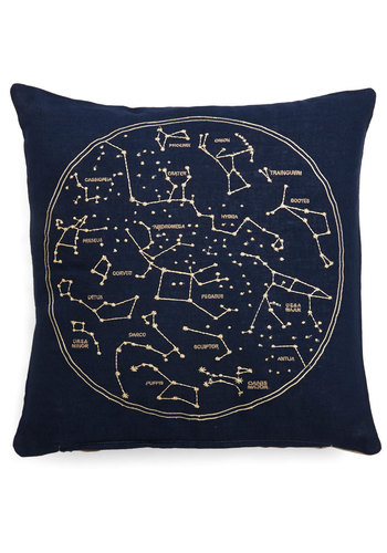 Celestial Chateau Pillow - Cosmic, Better, Blue, Tan / Cream, Novelty Print, Embroidery, Woven, Graduation