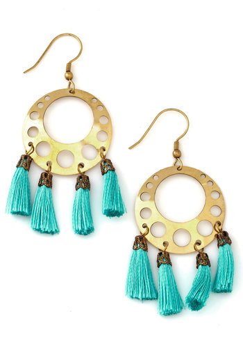Shining on a Saturday Earrings by Mata Traders - Blue, Solid, Tassels, Festival, Gold, Better, Gold, Boho, Statement, Fall