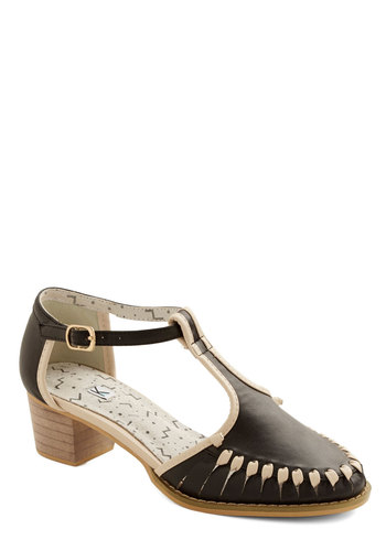 Delightful Director Heel by Kling - Low, Faux Leather, Black, Solid, Trim, Casual, Better, T-Strap, Tan / Cream, Chunky heel