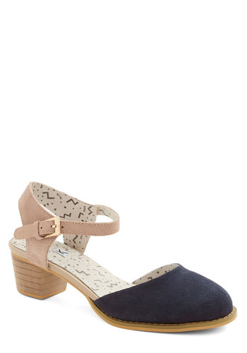Form, Fit, and Fun-ction Heel by Kling - Mid, Leather, Suede, Blue, Solid, Cutout, Better, Mary Jane, Slingback, Tan / Cream, Daytime Party