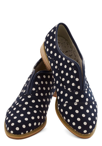 Dot's Genius Flat by Kling - Low, Woven, Blue, Polka Dots, Work, Menswear Inspired, Better, White
