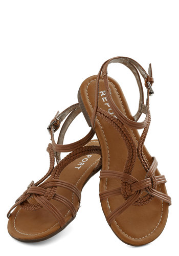 Sunny Day Staple Sandal - Flat, Faux Leather, Brown, Solid, Casual, Boho, Festival, Summer, Better, Strappy, Braided