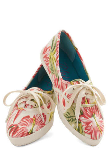 Tropical Trek Flat - Flat, Woven, Pink, Multi, Floral, Casual, Lace Up, Good, Tan / Cream, Festival, Summer, Fruits, Boho