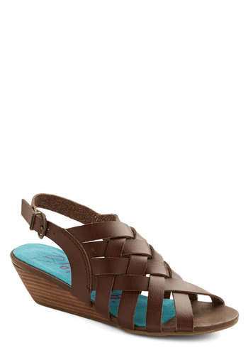 I Love a Braid Wedge - Mid, Faux Leather, Brown, Solid, Casual, Daytime Party, Beach/Resort, Summer, Better, Wedge, Peep Toe, Strappy, Braided