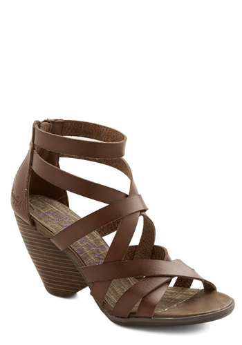 Fine Wine By Me Heel in Cacao - Mid, Faux Leather, Brown, Solid, Daytime Party, Better, Chunky heel, Strappy, Variation