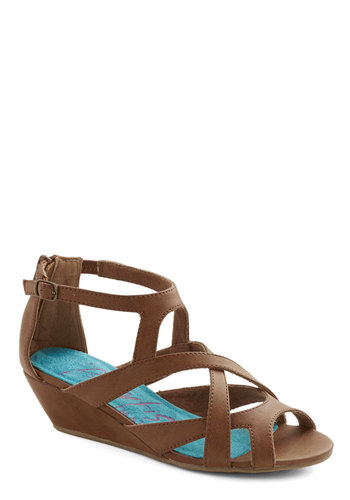 Always Having Fun Wedge in Brown - Mid, Faux Leather, Brown, Solid, Casual, Boho, Festival, Summer, Better, Wedge, Strappy, Variation