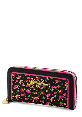 Betsey Johnson Bring Into Blossom Wallet - Black, Multi, Floral, Trim, Black, Faux Leather