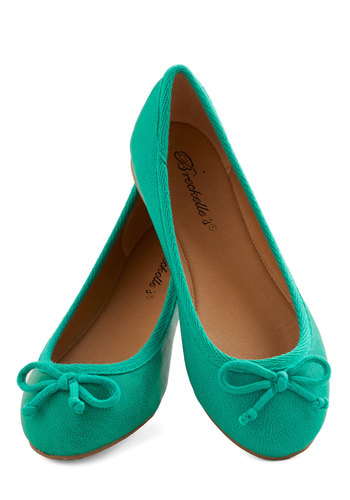 Bright Stepping Flat - Flat, Faux Leather, Green, Solid, Bows, Casual