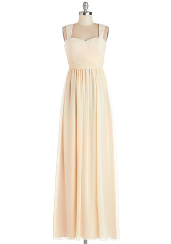 Ivory Fireworks Dress - Maxi, Prom, Wedding, Bride, Ruching, Tank top (2 thick straps), Best, Sweetheart, Chiffon, Woven, Cream, Variation, Full-Size Run