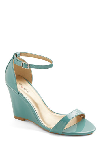 One Suite Day Wedge in Mint - Mid, Faux Leather, Solid, Party, Minimal, Good, Wedge, Mint, Daytime Party, Variation, Top Rated