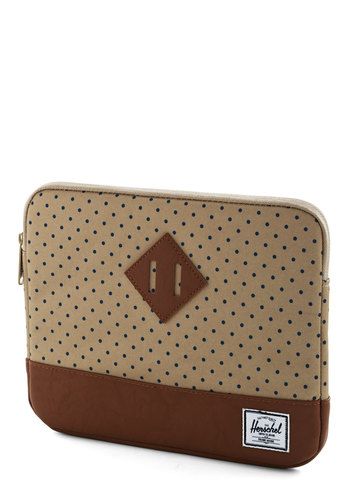 Weekend Market Tablet Sleeve by Herschel Supply Co. - Blue, Polka Dots, Travel, Scholastic/Collegiate, Faux Leather, Tan, Brown, Graduation