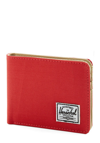 So Much Fund Wallet by Herschel Supply Co. - Red, Solid, Casual, Basic, Woven, Tan / Cream, Red