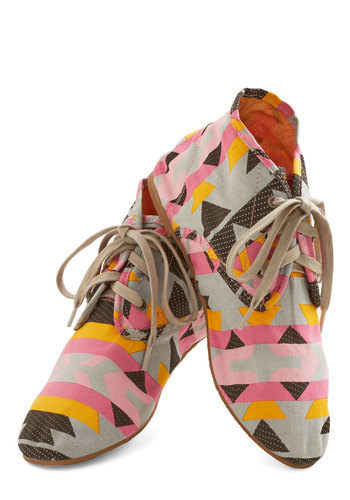 Walk Southwest Bootie - Flat, Woven, Print, Casual, Statement, Festival, Lace Up, Good, Multi, Yellow, Pink, Grey
