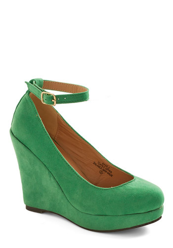 How Very Meta Wedge - High, Faux Leather, Green, Solid, Party, Holiday Party, Minimal, Good, Platform, Wedge