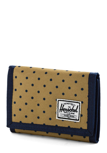 Weekend Market Wallet by Herschel Supply Co. - Blue, Polka Dots, Trim, Woven, Tan, Travel, Gals