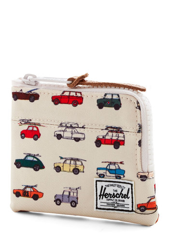 Tech Me on Your Trip Wallet by Herschel Supply Co. - Woven, Cream, Multi, Novelty Print, White, Travel, Gals