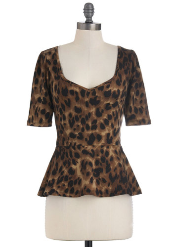 Giddy City Top in Leopard - Animal Print, Vintage Inspired, 50s, Short Sleeves, Girls Night Out, Peplum, Mid-length, Brown, Black, Fall, Sweetheart, Pinup, 40s, Brown, Short Sleeve