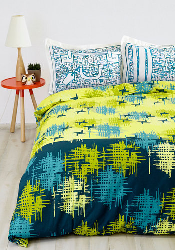 Modern Wing Duvet in Full/Queen - Vintage Inspired, 50s, Best, Cotton, Woven, Yellow, Blue, Print, Exclusives, Dorm Decor