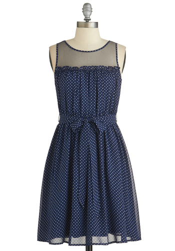 Pinot Tasting Dress - Blue, White, Polka Dots, Belted, A-line, Good, Casual, Sleeveless, Woven, Chiffon, Denim, Short