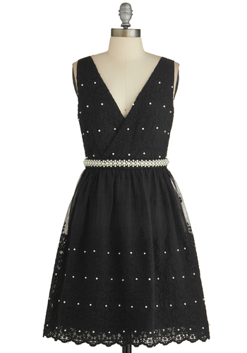 Magnetic Mademoiselle Dress - Black, Solid, Pearls, Special Occasion, Sleeveless, Lace, V Neck, Woven, Party, Homecoming, Lace