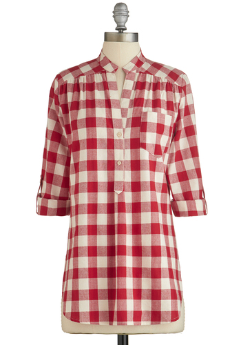 Bonfire Stories Tunic in Checkers - Red, White, Checkered / Gingham, Buttons, Casual, Long Sleeve, Variation, Red, Tab Sleeve, Cover-up, Cotton, Woven, Long, Summer, Good