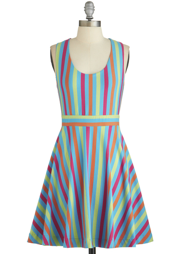 Zing Your Heart Out Dress - Stripes, Backless, A-line, Better, Scoop, Multi, Sleeveless, Summer, Knit, Short, Americana, Sundress, Casual, Vintage Inspired, 70s, Festival, Boho