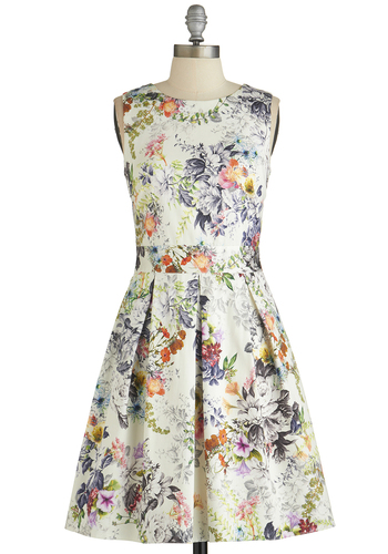 Make the Rounds Dress in Country Bouquet by Closet - Floral, Crochet, Pockets, A-line, Sleeveless, Better, Scoop, Exposed zipper, Pleats, Variation, Multi, Mid-length, Cotton, Sheer, Woven, Sundress, Daytime Party