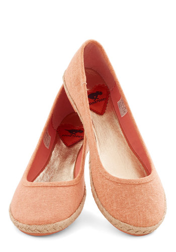 Jute the Breeze Flat in Melon - Flat, Woven, Solid, Woven, Casual, Spring, Summer, Better, Coral, Variation