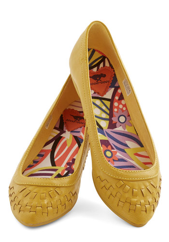 Golden Globeflowers Flat - Low, Faux Leather, Yellow, Solid, Woven, Casual, Better