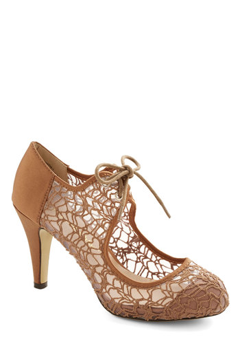 To Thee I Web Heel in Tan - Mid, Woven, Sheer, Tan, Solid, Special Occasion, Lace Up, Crochet, Party, Vintage Inspired, 20s, 30s, Variation
