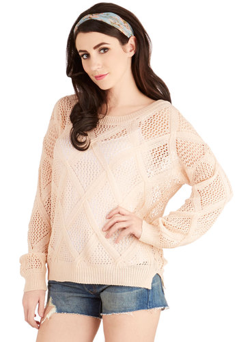 On Weekdays We Wear Pink Sweater - Pink, Long Sleeve, Knit, Mid-length, Sheer, Pink, Solid, Knitted, Casual, Pastel, Long Sleeve, Spring