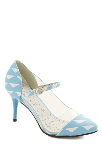 Breeze On By Heel by Kling - Mid, Faux Leather, Blue, White, Novelty Print, Party, Better