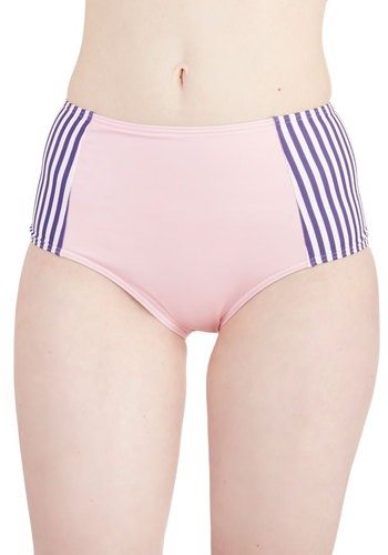 Flamingo the Extra Mile Swimsuit Bottom - Pink, Multi, Stripes, Beach/Resort, High Waist, Exclusives, Knit, Summer, Bird, Woodland Creature
